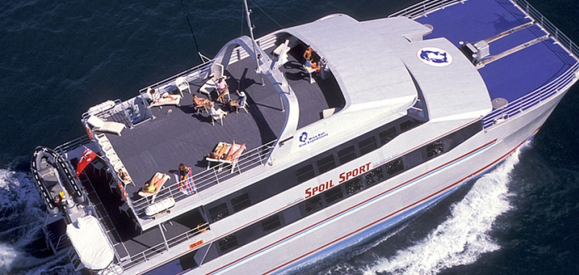 Scuba dive holiday in Australia - aerial image of Mike Ball 3 cruising vessell