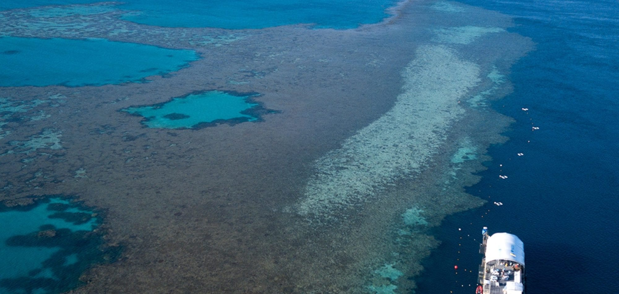 Whitsundays day trips - aerial photo of Hardy's Reef Pontoon on the Great Barrier Reef